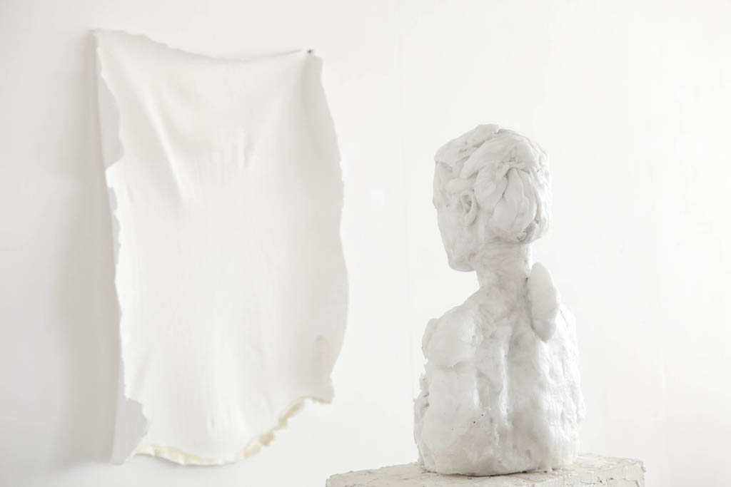 Virgile Ittah/Kai Yoda 2014.  Joanna / Shiro. Mixed wax, marble dust, earth pigment, latex, paint, polythene, gel, dimensions variable. Photo source: Virgile Ittah.