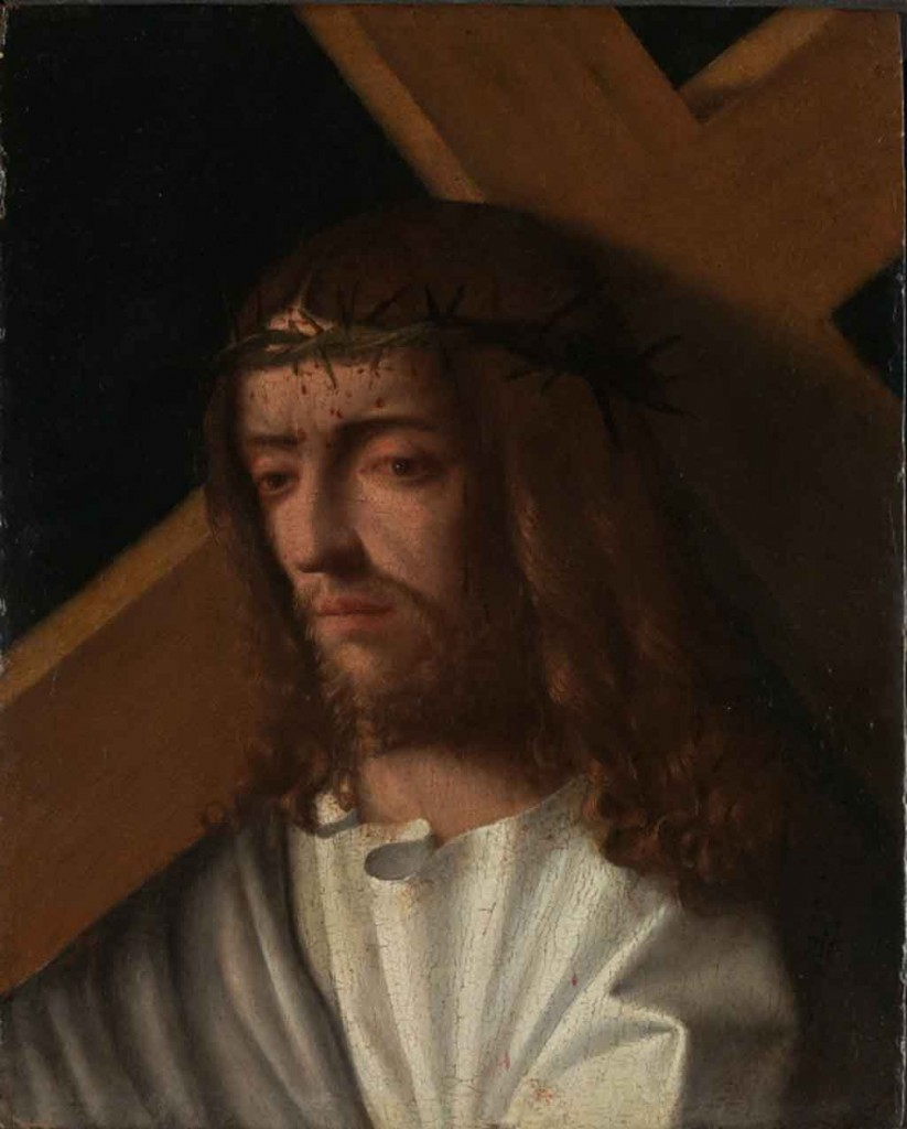Artist unknown c1500, probably Italian/Venetian, Christ Carrying the Cross, oil on wood (probably poplar), 36.4 x 29.9 cm. Photo: National Gallery, London