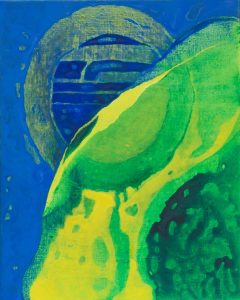 Susan Bazin 2015, The Eclipse, acrylic and oilbar on canvas, 40 cm x 30cm