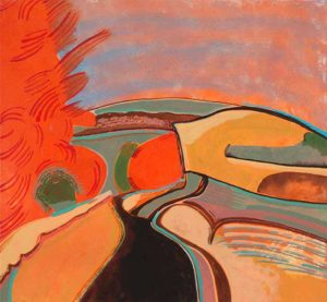 Chloe Fremantle 2014: Golden Red Landscape, acrylic, 42cm x 45 cm. This work was part of a year long commission to respond to a property called Highgreen in Tarset, NE Northumberland.