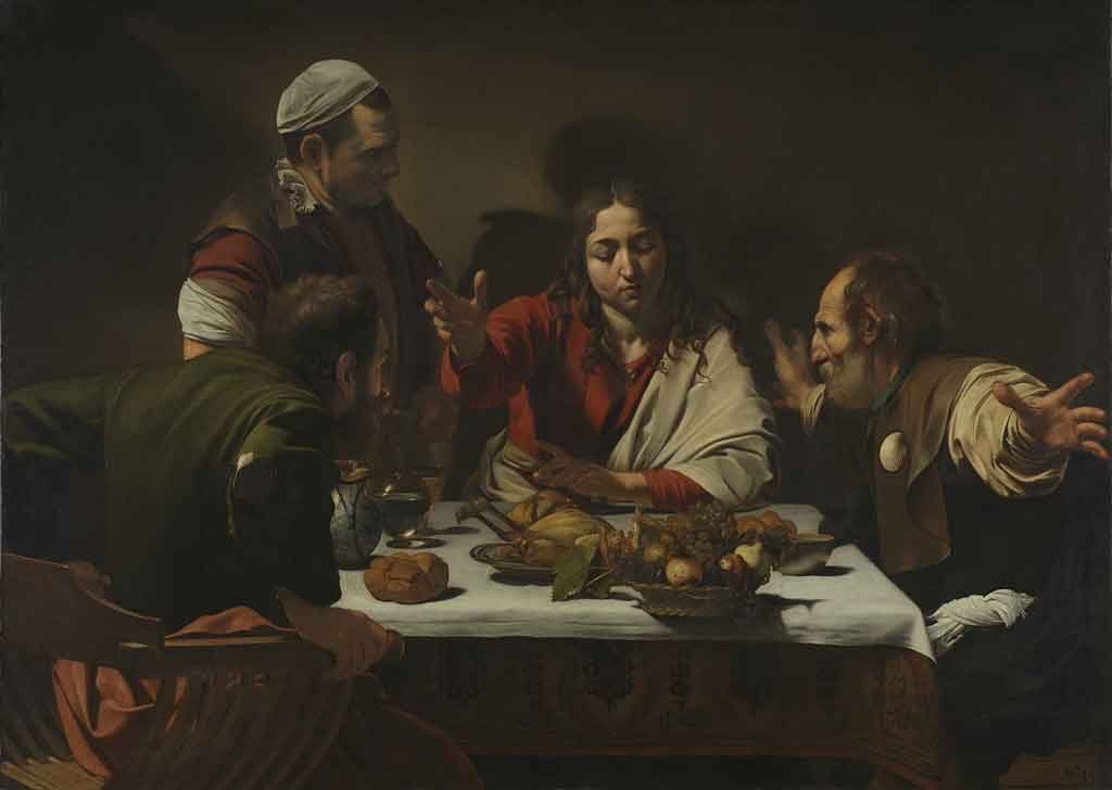 Michelangelo Merisi da Caravaggio 1601: The Supper at Emmaus, oil on canvas. Photo: National Gallery, London