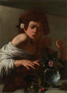 Caravaggio's Boy bitten by a Lizard, dated, 1594-5, oil on canvas, 66 x 49.5 cm, from the National Gallery, London, collection. © The National Gallery, London