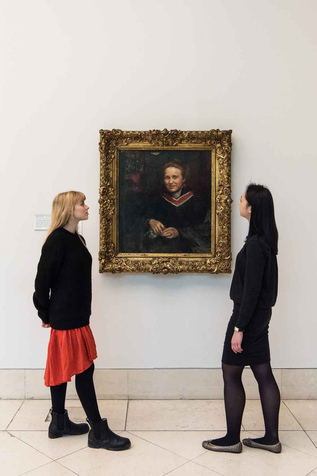 An installation view at Tate Britain, London, of the portrait by Annie Louisa Swynnerton, <em>Dame Millicent Fawcett, C.B.E., LL.D. ,</em> oil paint on canvas, 1120 x 1030 mm. The portrait is believed to have been painted around 1899 and was first exhibited in 1930. Tate collection, presented by the Trustees of the Chantrey Bequest 1930. Installation photo © Tate, by Joe Humphrys